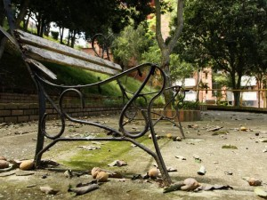 Las bancas tampoco se salvan de la delincuencia que se toma al parque Leones.