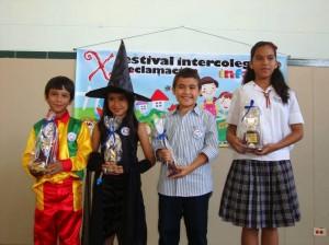 Oscar David Suárez Barros, Mariana Alzate Infante, Jaime Derick Suárez Ardila, Ángela María Fonseca Barnacho, ganadores del certamen.