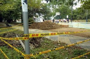 La construcción de los baños de San Pío está paralizada.