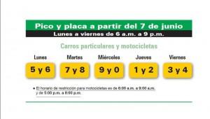 El nuevo Pico y Placa desde el 7 de junio.