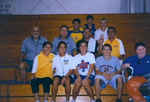 Junto a un grupo de estudiantes en un campamento en Estados Unidos.