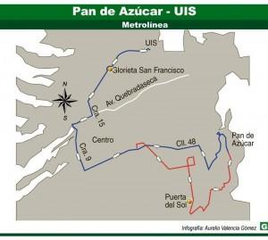 Esta es la ruta convencional Pan de Azúcar – UIS que tendrán los residentes de la zona a partir de los cambios de rutas que habrá por la entrada de Metrolínea al sector.