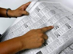 Los falsos técnicos de televisores anuncian en periódicos de la ciudad.