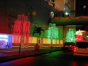 Árboles luminosos rodean el Centro Comercial Cuarta Etapa.