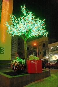 Los regalos a un lado del parque también ponen su acento Navideño.