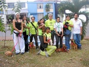 Miembros de las fundaciones algunas de las jornadas de adopción de perros en Bucaramanga.