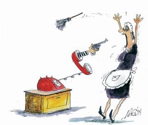 Los robos mediante llamadas telefónicas están creciendo en el sector. (Caricatura de Argón)