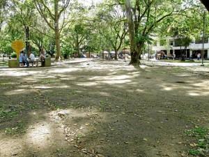 La falta de lluvia es otro de los factores que han acabado con la gramilla del parque San Pío.