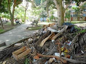 Estas basuras están en el parque Conucos hace más de seis meses y nadie sabe a quién le corresponde recogerlas.