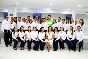 Grupo de empleados de Movistar.