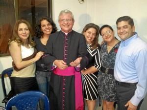 Mariluz Cortés, Johana Pulido, Monseñor Carlos Camacho, Diana Pimiento, Claudia Pinzón y Carlos Peñalosa.