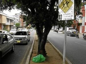 En la calle 56 con carrera 32 hay una señal que nadie ve, a nadie orienta y que por su ubicación no le sirve a nadie. (Foto Javier Gutiérrez )