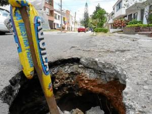 Hueco de la calle 62 con carrera 30, en Conuco9s. Nelson Díaz /GENTE DE CABECERA