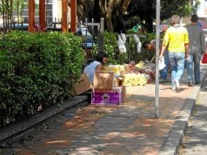 En la acera del Centro Comercial Tercera Etapa, calle 51, también hay ventas de frutas en bolsas.