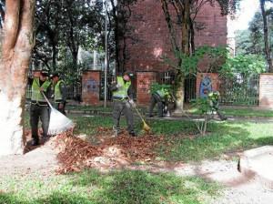 Hojas de los árboles y basuras en general se recogieron en el parque Conucos. Fotos Suministradas )