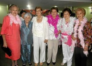 Lucila de Ledesma, Carmencita de Camacho, Marina de Marín, Teresa de Linares, Eugenia de Barrera y Lilia de Gómez.