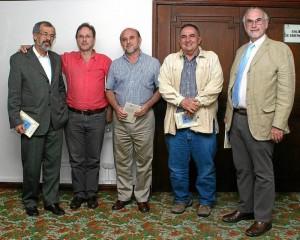 Luis Álvaro Mejía, Donaldo Ortiz Latorre, Isidoro Rodríguez, Rafael Ernesto Acevedo y Alfredo Acebedo Silva. (Foto Mauricio Betancourt)