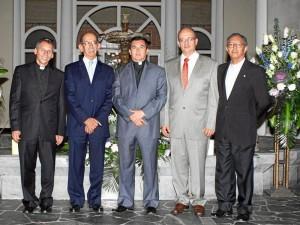 Jorge Flórez, Luis Felipe Casas, Monseñor Primitivo Sierra Cano, Carlos Augusto Mora González y Miguel Ángel Barrera Moreno.