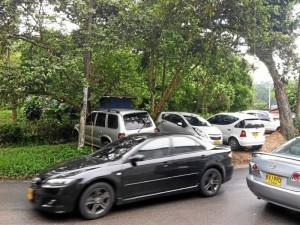 Los carros estacionados a lado y lado de la vía obstaculizan la vista.