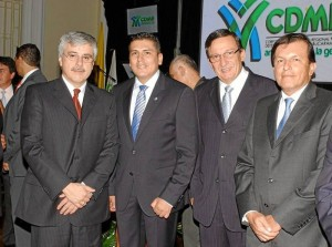 José Joaquín Plata, Ludwing Arley, director de la CDMB; Carlos Fernando Sánchez y Rafael Marín Valencia.