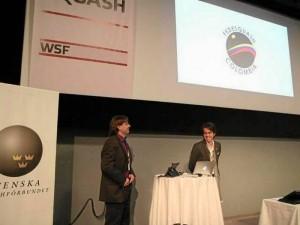 Sergio estuvo al lado de Pablo Serna, director de la Federación Colombiana de Squash.
