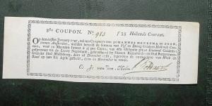 Este billete de 1797 holandés es el más antiguo que tiene, lo compró por internet.