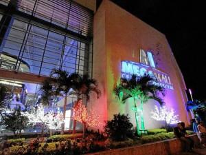 Las palmas del exterior del centro comercial tienen luces de colores.