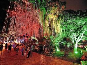 La iluminación del parque del agua fue inaugurada hace una semana.