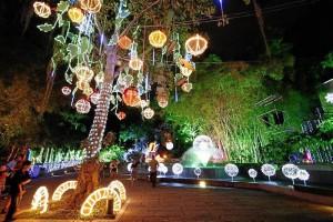 Las luces que penden de los árboles son tradiciona-les en este parque para la temporada navideña.