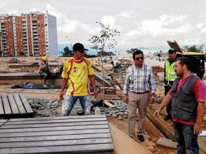 El alcalde de Bucaramanga estuvo en la obra esta semana viendo los avances.