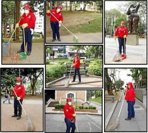 Estas son las mujeres que mantiene limpios los parques del sector.