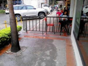El ciudadano solicita retirar las barandas que separan en dos este andén de uso público.