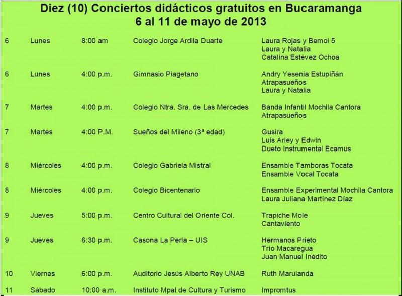 Conciertos didácticos gratuitos