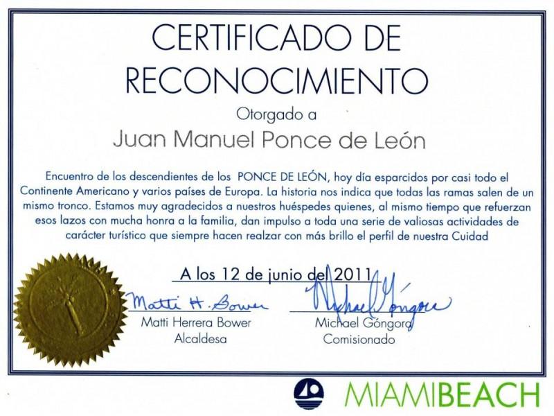 Este fue el certificado que le entregó la Alcaldía de San Agustín, La Florida.