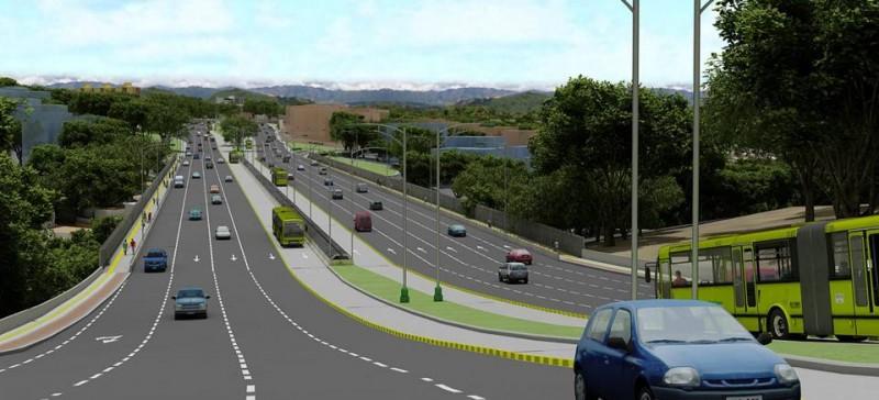 Esta será la imagen dentro de dos años del sector de la autopista en el viaducto García Cadena, al cual se le construirá un viaducto paralelo en el costado oriental