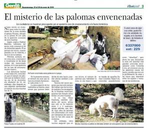 El diciembre de 2009 ocurrió también un envenenamiento masivo de palomas en el parque Los Sarrapios