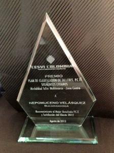 El galardón fue entregado en Bogotá a mediados de agosto de 2013