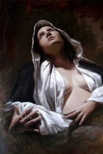 Juan José también hace pinturas, aquí 'Alumbramiento'.
