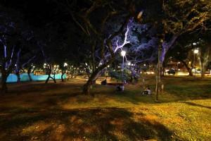 En las noches el parque recibe a jóvenes que en medio de la oscuridad comparten entre sí.
