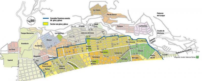 Mapa de limitación del pico y placa en Bucaramanga.