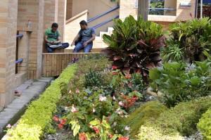 Los edificios están rodeados de flores y jardines que además aportan visualmente a un espacio más agradable y limpio
