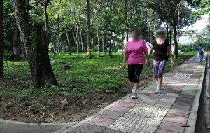 Con frecuencia muchas personas, la mayoría mujeres, madrugan a caminar en el parque La Flora. - Archivo / GENTE DE CABECERA