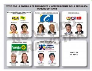 Este es el tarjetón electoral que recibirá en las elecciones presidenciales del domingo 25 de mayo de 2014.