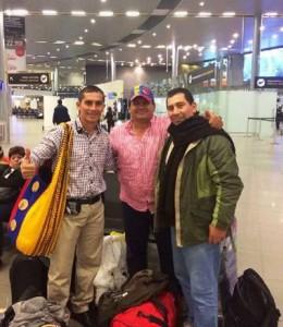 Óscar, Gonzalo y Héctor Celis Torres en el Aeropuerto Internacional Eldorado, antes de partir a Brasil