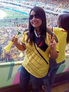 Andrea Velasco vive en Belo Horizonte hace más de un mes y tuvo la oportunidad de asistir al primer partido de Colombia en Brasil 2014.