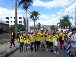 Andrea nos compartió esta foto de una familia colombiana que fue a apoyar la selección a Brasil.