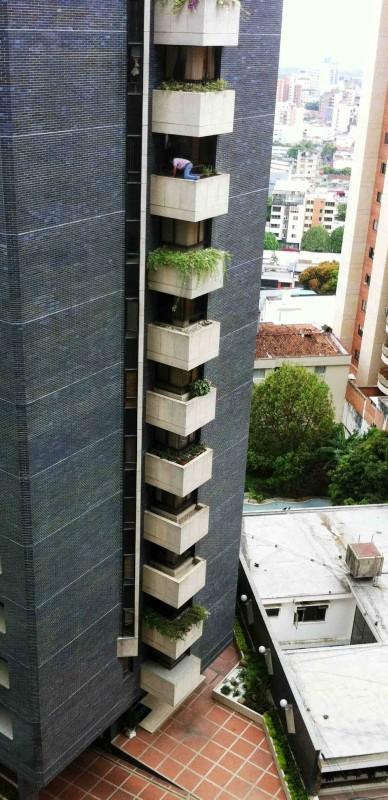 El riesgo es evidente para la persona que está haciendo labores de limpieza en el jardín del piso 9