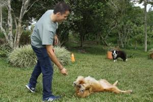 Daniel entrenando a sus perros en una finca de La Mesa de Los Santos.