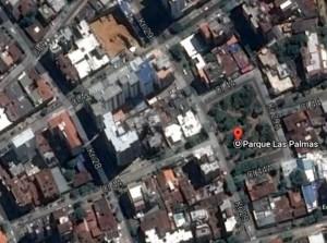 La vista satelital de Google permite observan, en forma de 'L' las nuevas edificaciones de esta manzana contigua al parque Las Palmas