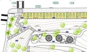 Según los diseños, así será una parte del parque (esquina carrera 40 con calle 46), con parqueaderos y entrada en gradas.
